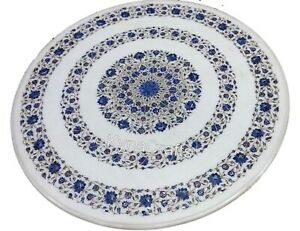 Round Marble Dining Table Top Blue Stone Inlaid Work Patio Sofa Table 36 Inches