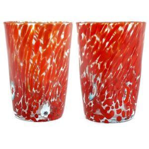 Pair of Murano Glass Drinking Art Glasses Tumbler Red Hand Made Millefiori