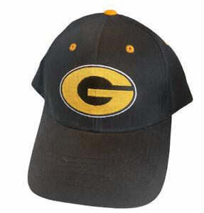 VTG 90s Green Bay Packers Strapback Cap Hat Black Gold Yellow G Logo - NWOT