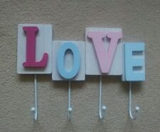 New LOVE Coat Hooks Bag Towel Jewellery Hooks Wooden Pinks & Blue