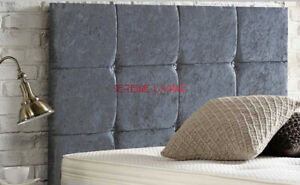 """CRUSHED VELVET BED HEADBOARD 12 CUBE  20"""" - SMALL DOUBLE KING SUPERKING"""