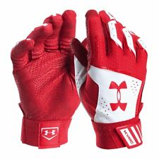 UNDER ARMOUR UA Yard Baseball Batting Gloves sz M Medium Red White MLB
