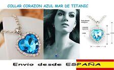 COLLAR COLGANTE CORAZON DEL OCEANO TITANIC AZUL MAR. CRISTALES TIPO SWAROVSKI