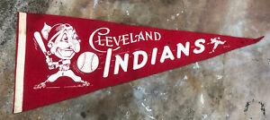 "Vtg 1940s Cleveland Indians Baseball Full Size Wool Felt Pennant 29"" Chief Wahoo"