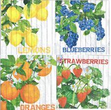 Set di 4 differenti UNICO LIBRO DECOUPAGE TOVAGLIOLI. la raccolta, frutti-Z9