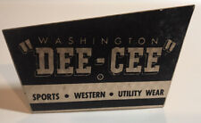 Vintage Washington Dee-Cee Sports Western Utility Wear Tabletop Advertising Sign