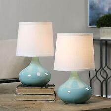 Light Blue Porcelain Mini Table Lamp Pair | Set 2 Small White Shade