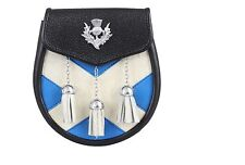 NEW 3 TASSLE SCOTTISH CELTIC KILT COW HIDE REAL LEATHER SCOTTISH FLAG SPORRAN