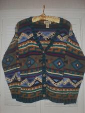 Vintage LL Bean Southwest Aztec Indian Blanket Sweater Cardigan SZ S Wood button