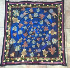 New Elizabeth Kate Silk Large Scarf Shawl Black Blue Pink Multi Jewelled Insects