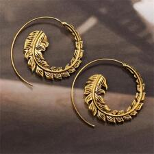 Tribal Boho Style Leaf Ear Stud Spiral Brass Vintage Dangle Hoop Earrings Gifts
