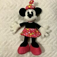 Disney Minnie Mouse stuffed animal plush toy lovey pink hat dress 9""