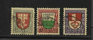 Switzerland Scott #B12-#B14 used 1919 Semi Postal set nice cancels f/vf sound