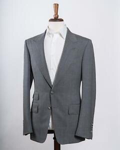 Tom Ford $4,330 NWT Shelton Gray Peak Lapel Mohair Jacket Sport Coat 48 IT 38 US