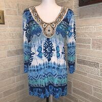 Chico's Top Blouse Tunic Blue White Wooden Beads Boho Long Sleeve 1 Made in USA