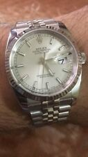 Rolex Datejust 36mm Steel with Silver baton Dial And White Gold Bezel