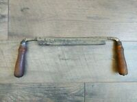 "Vintage Lakeside Draw Shave Knife 10"" Blade Wooden Handles Woodworking Tool"