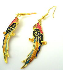 Vintage Cloisonne Macaw Bird Earrings Pierced Wire Gold Inlay Red Head Feathers