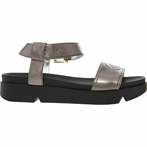 EMPORIO ARMANI Women's Metallic Pewter Leather Sandals UK 3 UK 7
