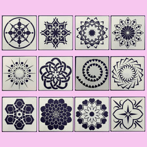 12Pcs Mandala Stencils Painting Template Set Hollow Out Stencil Tool for Drawing