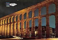 Spain Segovia The Roman Aqueduct Nocturnal Aspect Vintage Cars