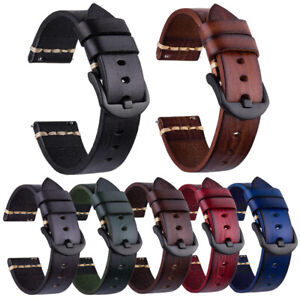 18 20 22 24 26mm Geniune Leather Watch Band Strap For Fossil Samsung Eco-Drive