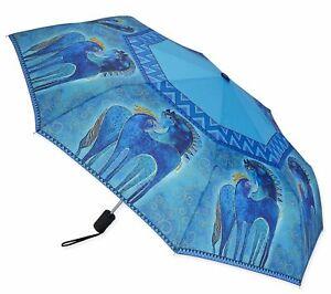 LAUREL BURCH Compact Umbrella TEAL MARES ~ Auto Open & Close ~ New