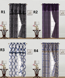 5PC SET PRINTED   ROD POCKET WINDOW CURTAIN WITH VALANCE AND TIE BACK R'S