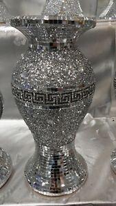 Crushed Diamond Ceramic Silver Vase Diamante Bling Home Decoration Ornament 30cm