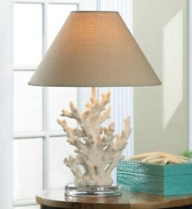 Coral Beach Ocean Theme Table Lamp With Fabric Shade Nautical End Table White