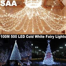 Bright White 500 LED 100M Ourdoors Christmas Fairy String Lights Wedding Garden