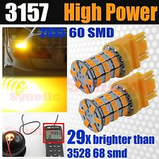 2x 3157 3057 High Power 2835 60-LED Amber Dual Filament Turn Signal Light Bulbs