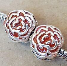 Disney Princess Belle Enchanted Red Rose Beauty & the Beast European Charm Beads