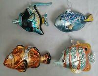 "Tropical Fish Blue Orange Yellow Glass Ornament 5"" Set 4 Christmas Coastal Beach"