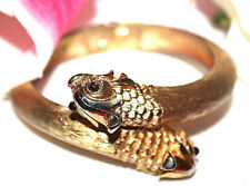 DRAMATIC AND POPULAR CROWN TRIFARI SIGNED RED EYED FISH HEAD BRACELET-AS IS