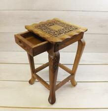 Very Small Side table With Drawer Plant Stand Carved Wood Decorative Lamp Stand