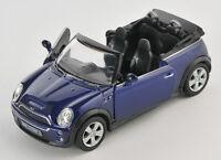BLITZ VERSAND Mini Cooper S Cabrio dunkelblau Welly Modell Auto 1:34 NEU & OVP