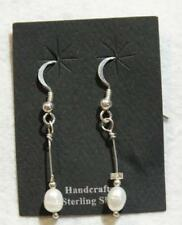 Oval White Freshwater Pearl and Sterling Silver Drop Earrings