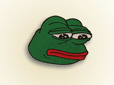 "Pepe Iron On Embroidered Applique Patch .The Sad Frog ""Feels bad man."" meme KEK!"