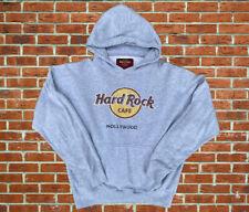 Vintage Hard Rock Cafe Hollywood Pullover Gray Sweatshirt Hoodie Big Logo Size L