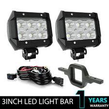 2X 3 inch 18W LED Work Light Offroad Cube Pods Flood Lamp+Tow Hitch Bracket