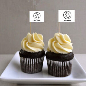 10 x NUT FREE Cup Cake Flag Toothpick Topper Food Allergy Intolerance