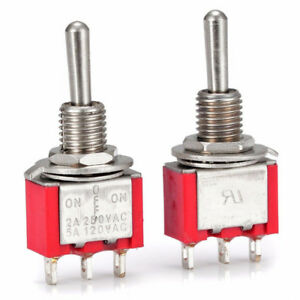 2 Pcs AC SPDT On/Off/ 3 Position Momentary Toggle Switch AC250V/2A/120V/5A B*jn