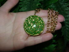 Vintage Lucite - GLITTER CONFETTI pendant NECKLACE - green w gold - hard to find