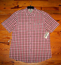 New! Men's OUTDOOR LIFE Red Brown White Plaid Button Down Collar Shirt Medium