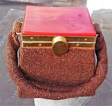 Vintage 1930's Fully Beaded Lucite Cover Box Purse Brown Handbag