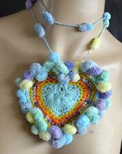 Handmade Crocheted Necklace Soft Acrylic Threads Blues Heart Shape From Artist