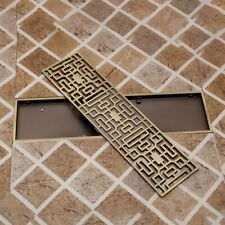 Antique Brass Bathroom Floor Drain Linear Long Grate Shower Waste Drainer