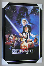 """STAR WARS framed POSTER """"RETURN OF THE JEDI"""" Ready to Hang BLACK TIMBER"""