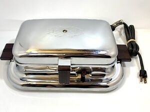 Vintage General Electric 139G38 Table Top Waffler 1946 Chrome Steel Waffle Iron